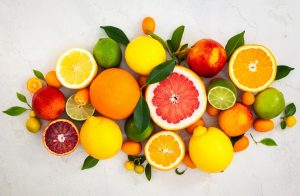 citrus fruits with leaves